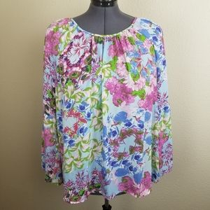 NY Collection Pink Blue Green Floral Blouse 3X